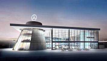 architektur des mercedes benz centers stuttgart steht. Black Bedroom Furniture Sets. Home Design Ideas